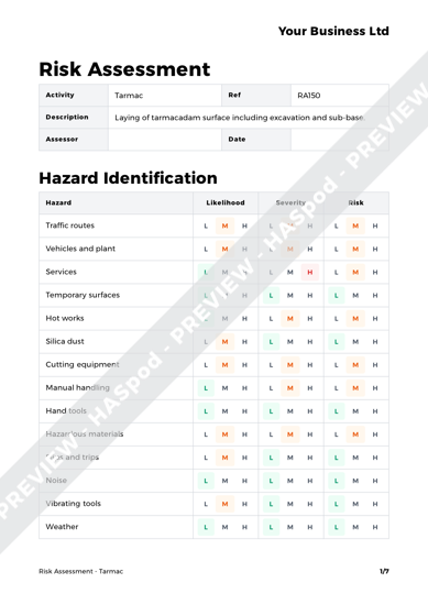 Risk Assessment Tarmac image 1