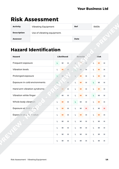 Risk Assessment Vibrating Equipment image 1