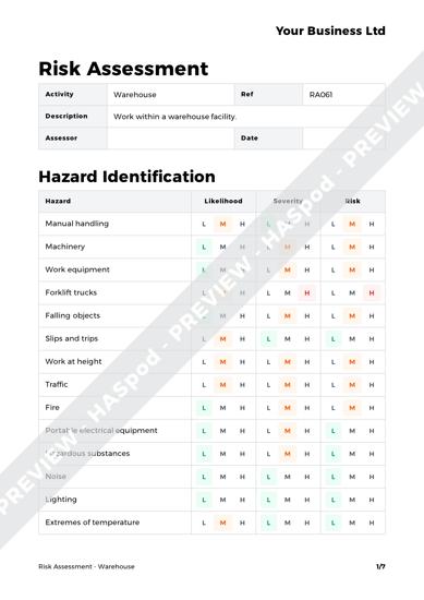 warehouse risk assessment template haspod. Black Bedroom Furniture Sets. Home Design Ideas
