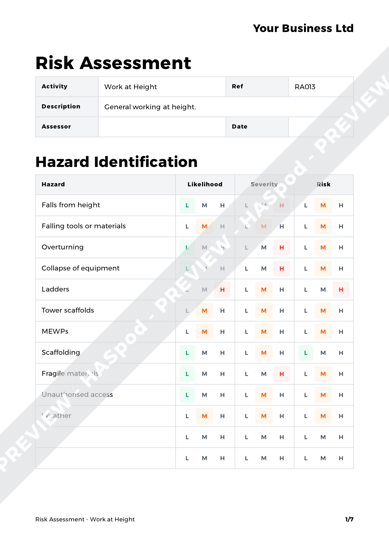 Risk Assessment Work at Height image 1