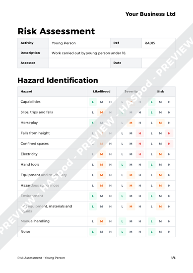 Risk Assessment Young Person image 1