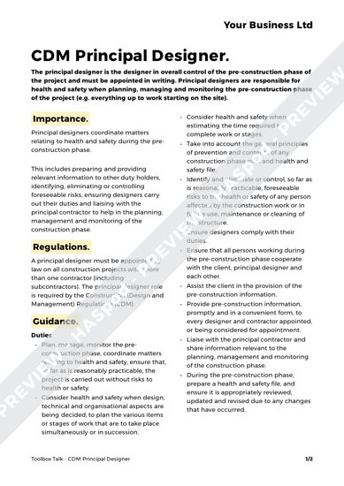 cdm construction phase plan template - cdm principal designer toolbox talk free template haspod