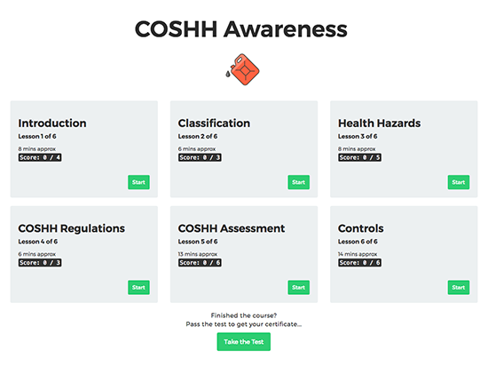 COSHH Awareness elearning course image 1