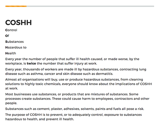 COSHH Awareness elearning course image 2