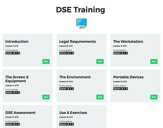 DSE Display Screen Equipment elearning course image 1