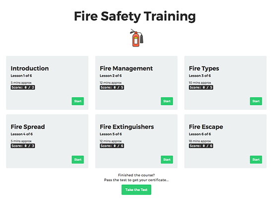 Fire Safety elearning course image 1