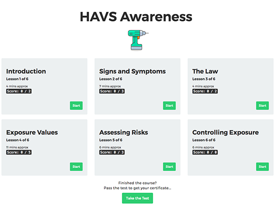 HAVS Awareness elearning course image 1