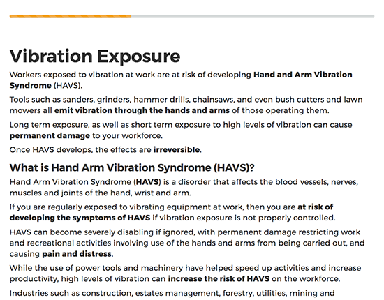 HAVS Awareness elearning course image 2