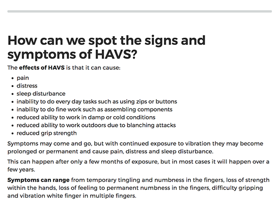 HAVS Awareness elearning course image 3
