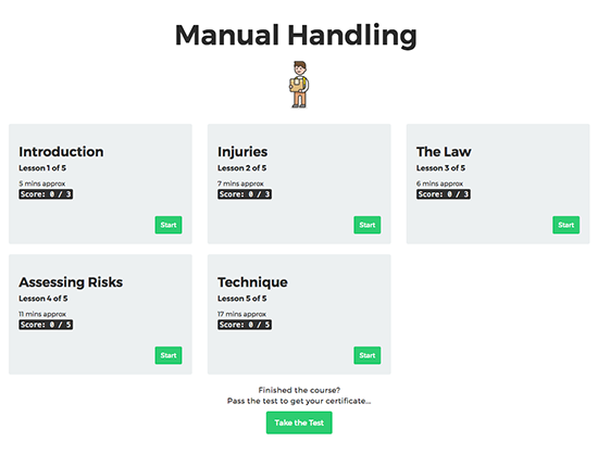 Manual Handling elearning course image 1
