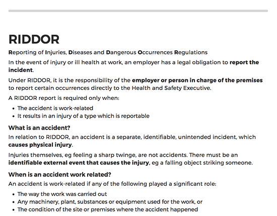RIDDOR elearning course image 2